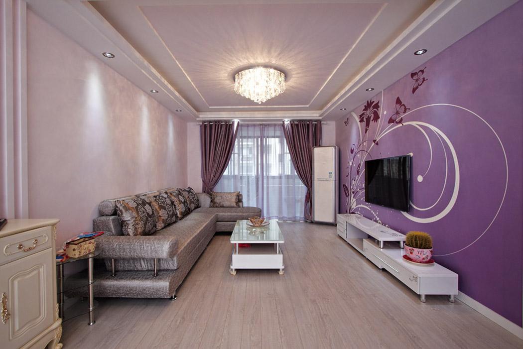 色彩明快的装饰壁画搭配着层次错落的吊顶,让舒适的空间更是锦上添花,让家的感觉更加温馨。