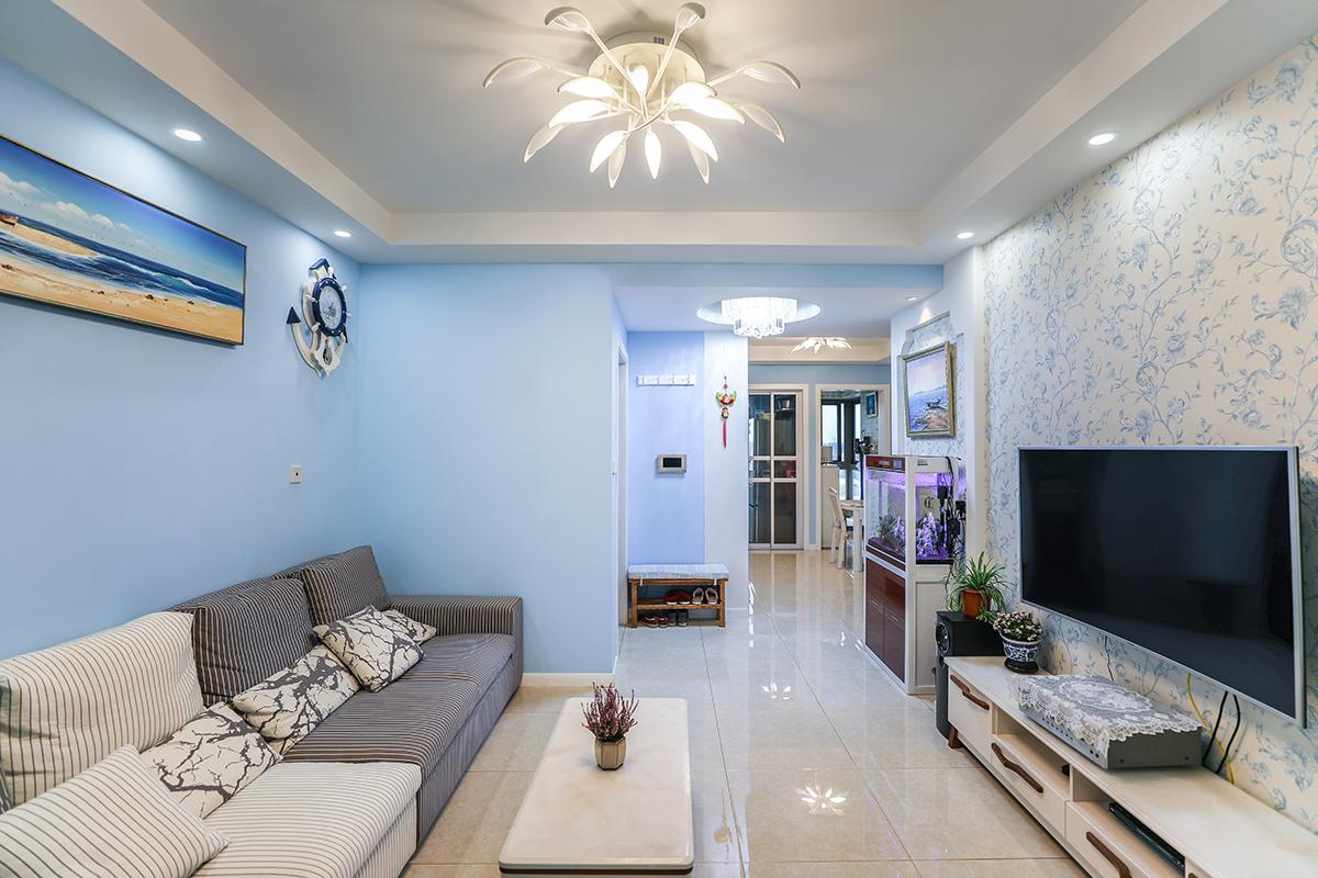 秋月风舍新房装修两房一厅地中海混搭简约