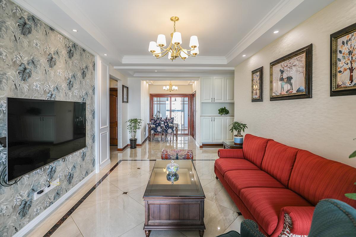 杨泰路2158弄远洋悦庭美式小清新两房两厅新房装修