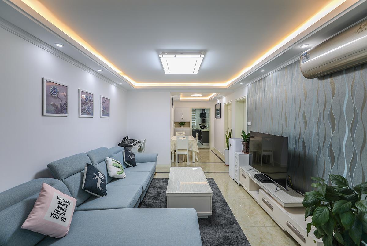 宝启公寓翻新装潢蕴川路1625弄现代简约蓝色优雅